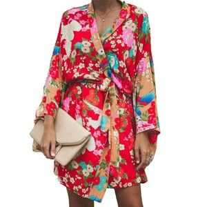 Floral Open Kimono Flare Sleeve Red and Pink